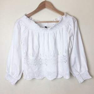 Topshop off the shoulder white eyelet top